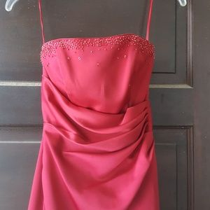 Red gown with beading